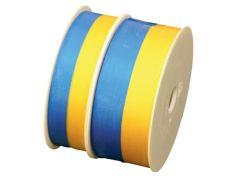 Presentband satin blå/gul
