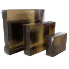 Brun presentkartong med lock, guldfärgad insida