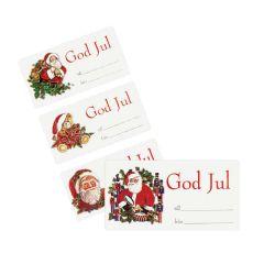 Etikett till/från fyra olika julmotiv